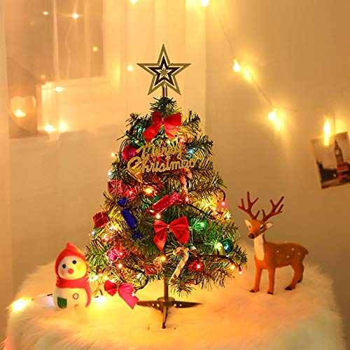 OZMI 20'/50cm Tabletop Christmas Tree, DIY Artificial Mini Tabletop Xmas Tree with 20 LED String Lights, 18 Christmas Ornaments and Plastic Base for Table Top Desk Classic Series Holiday Decoration