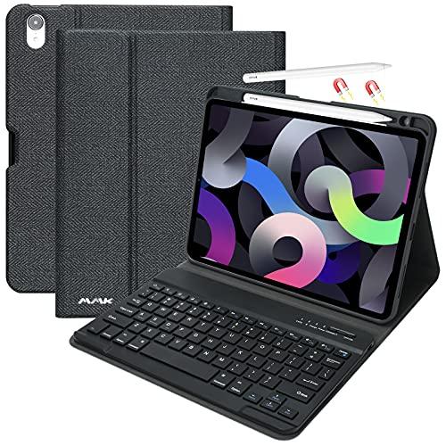 Custodia per tastiera iPad 10.9 per il nuovo iPad Air 4 Generation 10.9 2020 / iPad Pro 11 2018 con tastiera Bluetooth wireless staccabile - Custodia con protezione completa con supporto(nero)