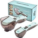 cucchiai dosatori set,cucchiaio dosatore plastica regolabile,misure per la cottura di prodotti da forno da cucina e solidi/in polvere/liquidi,grande e cucchiaino piccolo,2 pezzi