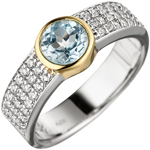 JOBO Damen-Ring aus 925 Silber mit Blautopas und Zirkonia Größe 60
