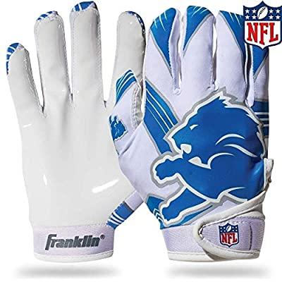 Franklin Sports Detroit Lions Youth NFL Football Receiver Gloves - Receiver Gloves For Kids - NFL Team Logos and Silicone Palm - Youth M/L Pair