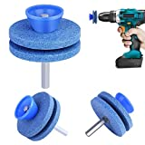 Lawn Mower Blade Sharpener, Universal Wear Resistant Lawn Mower Blade Sharpener for Any Power Drill & Hand Drill, Double-Layer Grindstone Not Easy Damage (3PCS)