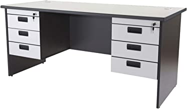 Mahmayi Wood Grigio Double Pedestal Desk, AT180H2D, Grey, H75 x W75 x D180 cm, Require Assembly