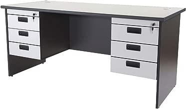Mahmayi Grigio Double Pedestal Desk, Grey, 75 x 180 x 74 cm, AT180H2D