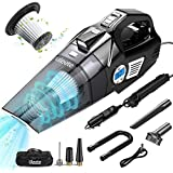 uleete 4 in 1 Portable Car Vacuum Cleaner, Digital Air Compressor Pump with Auto Shut Off Feature, DC 12V Tire Inflator for Car, High Power 6000PA Handheld Vacuum with Led Light, Wet and Dry Cleaner