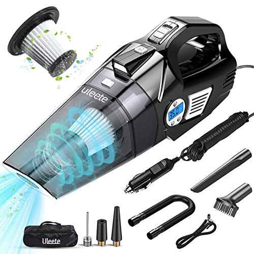 uleete 4 in 1 Portable Car Vacuum Cleaner Digital Air Compressor Pump with Auto Shut Off Feature DC 12V Tire Inflator for Car High Power 6000PA Handheld Vacuum with Led Light Wet and Dry Cleaner