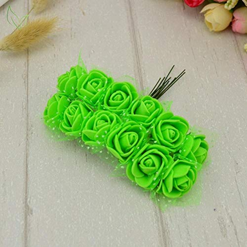 12 stuks roos nep bloem pe schuim kunstbloemen goedkoop voor thuis bruiloft decoratie diy krans geschenkdoos scrapbooking handwerken, 7 groen