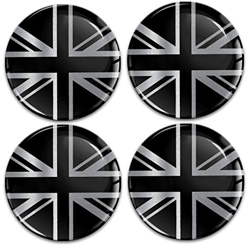 Biomar Labs® 4 x 60mm Universal Adhesivo Pegatinas para Tapas de Rueda de Centro Tapacubos para Coche Bandera Nacional del Reino Unido UK United Kingdom GB Union Jack Plata Negro A 10860
