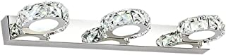 9W LED Mirror Front Light - Waterproof Vanity Lights Stainless Steel Bathroom Lamp Make-up Lighting Crystal-03/Cold White