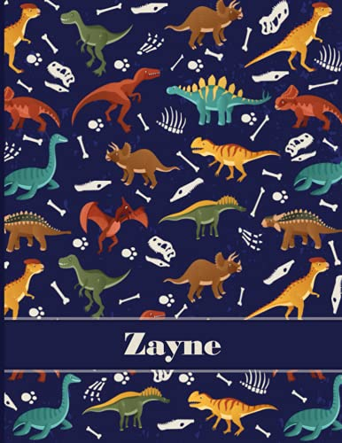 Zayne: Personalized Name Composition Notebook For Kids, Dinosaur Journal , Wide Ruled Comp Book For Boys Grades K-2,Preschool, Kindergarten (8.5'' x 11'') 110 Pages