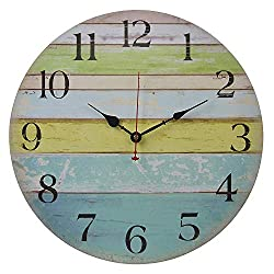 Eruner 14-inch Vintage Wood Wall Clock - Colorful Ocean Stripe Design France Paris Retro Style Non-Ticking Silent Wooden Wall Clock (#10, 14)