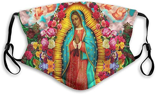 Our Lady of Guadalupe Virgin Mary Man's Lady's Dust face mask Breathable Mouth face mask with Filter chip-Black-Small