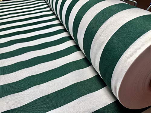 Teflon Waterproof Outdoor Striped Fabric - 4cm wide Stripe Canvas Material for cushions, beach, gazebo - 140cm wide (sold by the metre) (DARK GREEN & WHITE, 1 METRE)