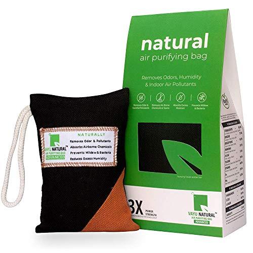 Breathe Fresh Vayu Natural - Air Purifier, Dehumidifier & Odor Eliminator For Fridge, Gym Bag, Travel Bag, Small Shoe Rack, etc. (Activated Charcoal Bag, Pack of 1)
