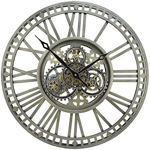 The B-Style TB 24 inch Large Real Moving Gear Wall Clock, Oversized Decorative Clock Vintage Metal...