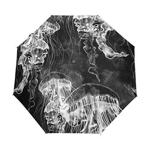 Hunihuni Regenschirm, Wasserfarben, mit Quallen, automatischer Öffnung, faltbar, Winddicht, wasserdicht, UV-Schutz, Sonnenschutz