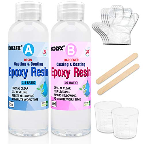 Epoxy Resin Transparente 9.7 oz/250ml Kit – 1: 1 Ratio Revêtement en résine époxy cristalline pour bois, bar, table, fabrication de bijoux, décoration artisanale