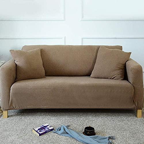 LTHDD Funda de sofá de color sólido, 1 2 3 4 plazas de tela elástica sofá protector europeo antiácaros antiarrugas muebles protector-caqui 4 plazas 235-300cm