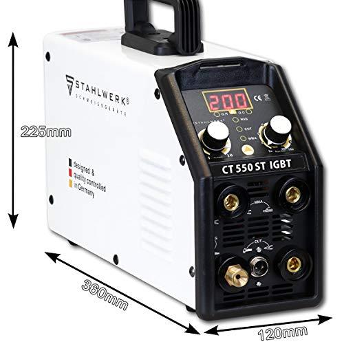STAHLWERK CT550 ST – kompaktes WIG/MMA Schweißgerät mit Plasmaschneider bis 12mm, 200 Ampere WIG/MMA + 50 Ampere CUT, 7 Jahre Garantie, weiß - 3