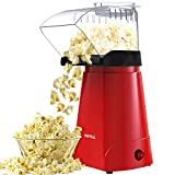 HIRIFULL Hot Air Popcorn Machine, Household Popcorn Maker for Healthy Snacks, 1200W Electric Popcorn Popper, No Oil, with Measuring Cup and Removable Lid, ETL Certified, BPA-Free, Great for Family Parties and Movies Night, Red