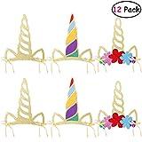 LUOEM Sombreros de cuerno de unicornio 12 piezas Fuentes de fiesta de unicornio...