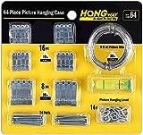 Hongway Kit para colgar cuadros, 64 piezas, surtido de perchas Pictrue con ganchos para fotos, clavos, alambre y nivel para colgar cuadros, para marcos