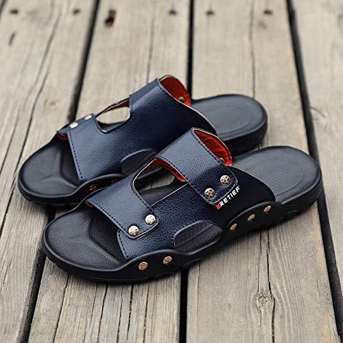 Cxcdxd FLHLF Zapatos de Piscina Zapatos de Agua para baño, Sandalias y Pantuflas para Hombres, Sandalias Suaves de Playa con Chanclas, Sandalias de Cuero Antideslizantes para masajes, Sandalias d