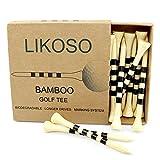 LIKOSO 2 3/4'Tees De Golf De Madera Paquete De 30, Tees De Bambú De 70mm (Natural, 70mm)