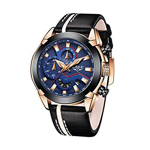 LIGE Herren Uhren Militär Draussen Wasserdicht Analoguhr Quarz Armbanduhr Männer Fashion Chronograph Sport Großes Zifferblatt Leder Uhr