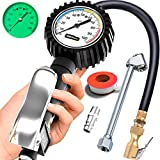 Tire Inflator with Pressure Gauge and Longer Hose - Most Accurate, Heavy Duty Air Chuck with Gauge for Air Compressor Tire Inflator Attachment - 100PSI