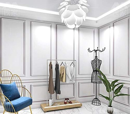 Nordic Style Plaster Line Wallpaper 3D Stereo Background Wall Covering High-End Light Luxury Clothing Store Wallpaper