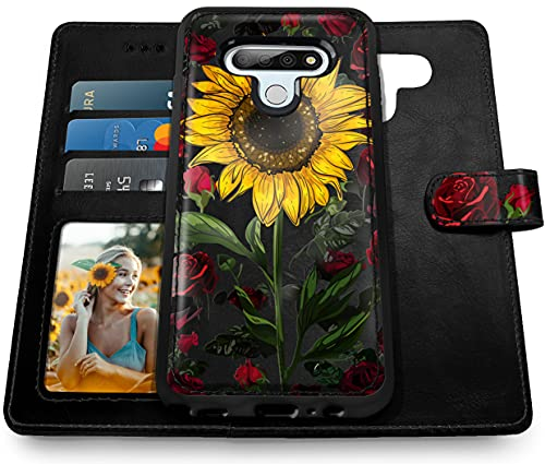 Shields Up LG Stylo 6 Wallet Case, [Detachable] Magnetic Wallet Case with Card Slots & Wrist Strap for Girls/Women, [Vegan Leather] Shockproof Cover for LG Stylo 6 - Rose Flower/Sunflower
