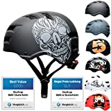 SkullCap® Casco de Skate y BMX - Bicicleta Y Scooter Eléctrico, Diseño: Skull, Talla: M (55-58 cm)