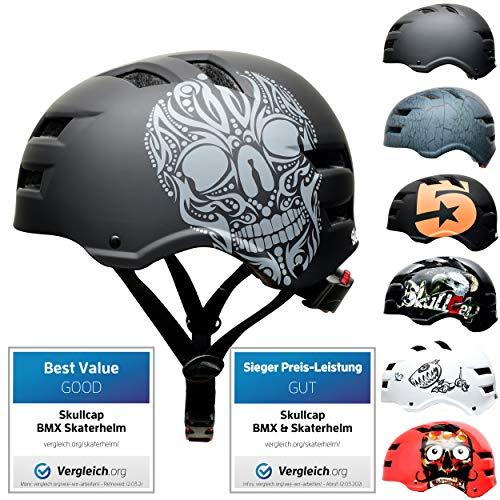 SkullCap BMX & Casco per Skater Casco - Bicicletta & Monopattino Elettrico, Design: Skull, Taglia: 53-55 cm
