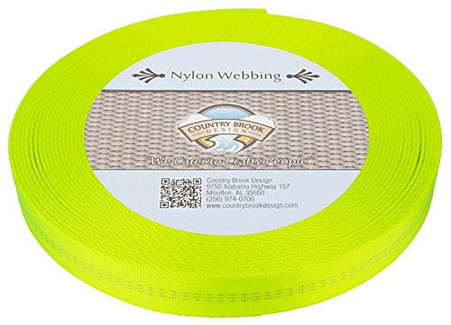 Country Brook Design 1 Inch Hot Yellow Climbing Spec Tubular Nylon Webbing, 1.