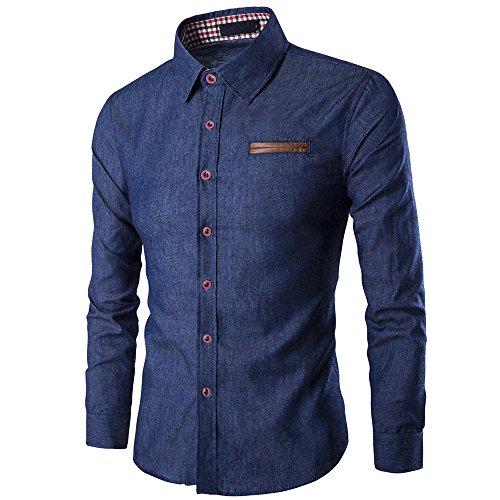 DAY.LIN Herren Hemd Herren Beiläufig Langarm-Shirt  Business Slim Fit Hemd Cowboy Bluse oben Herren Pocket Rechtschreibung Langarm Shirt Jeanshemd (Marine, L=EUM)