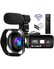 Videocamara 4K Cámara de Video de 48MP 18X Cámara de Vlogging WiFi Cámara de Visión Nocturna por Infrarrojos Videocámara Full HD con Control Remoto Inalámbrico de 360 °