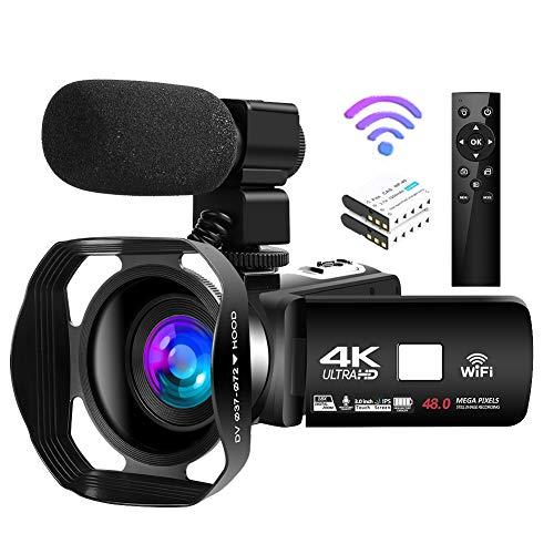 Videocámara 4K Videocamara de 48MP 18X WiFi Cámara de Youtube Videocamara de visión Nocturna por Infrarrojos con Control Remoto Mejorado, micrófono Externo y Parasol