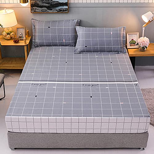 CFYCYHDZHT Bedding Best for Hotel Home Soft Cotton Printed Waterproof Bed Sheets,Old Man Kids Single Double King Size Mattress Protector A 100cm×200cm