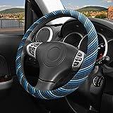 ZATOOTO Car Steering Wheel Cover Flax - Women Men Soft Blue Linen Breathable Anti Skid Better Grip Universal 15 inch