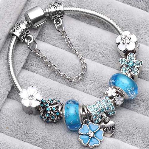 JJDSL Armband, Vintage Zilver Kleur Armbanden Voor Vrouwen Diy Crystal Kralen Pandora Armbanden Vrouwen Sieraden Voor Vrouwen Geschenken Bangle