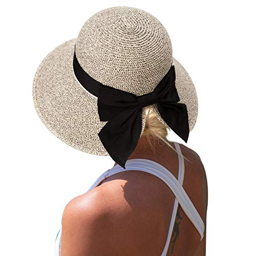 Comhats Faltbarer Strohhut Sommerhut UPF 50 + mit Sonnen Shade breite Krempe Damen Kaffeebraun