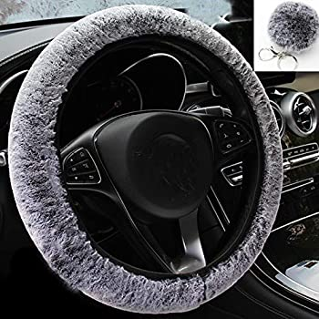 ZWZCYZ Fluffy Steering Wheel Covers for Women with Fur Pom Pom Keychain,Fuzzy Furry Steering Wheel Covers Winter Warm Universal Anti-Slip Car Decoration Universal Fit Most Car  Gray