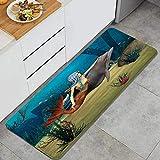 PATINISA Tapis de Cuisine,Mermaid Fairy Marine Mermaid Girl et Dolphin Fish nageant sous l'eau dans Blue Ocean Image Multi,Antidérapant Absorbant Tapis Lavable Cuisine Paillasson 45x120cm