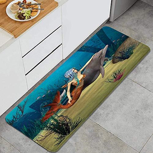 VINISATH Tapis Cuisine Devant Evier Antidérapant Lavable,Mermaid Fairy Marine Mermaid Girl et Dolphin Fish nageant sous l'eau dans Blue Ocean Image Multi,Tapis de Bain Tapis de Sol Cuisine Absorbant