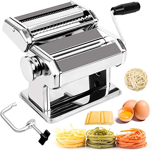 Dalkeyie Pasta Maker Machine, 6 Adjustable Thickness Settings Pasta Rolling Machine, for Spaghetti, Fettuccini, Lasagna or Dumpling Skins