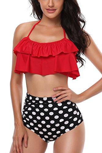 AMAGGIGO Traje de baño para Mujer de Talle Alto Vintage Push Up Bikini Set para Mujer Talla Grande 2 Piezas Traje de baño (FBA) (EU 46-48, Rojo)