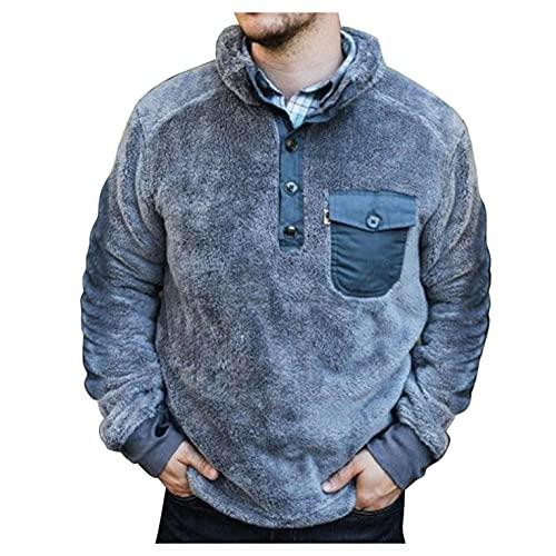 XUNFUN Men's Fuzzy Sherpa Fleece Sweatshirts Plus Size Fashion Quarter Button Stand Collar Cozy Warm Pullover Tops Blouse(Blue,3X-Large)
