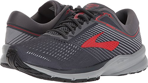 Brooks Mens Launch 5 - Ebony/Grey/Red - D - 9.5