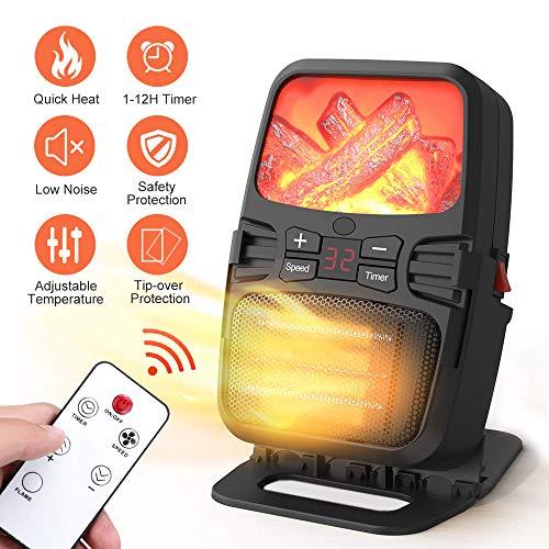 iKALULA Keramik Heizlüfter, Heizlüfter Einstellbarer Thermostatr Ventilator-Heizlüfter mit Fernbedienung Mini Heizung mit Timer und Überhitzungsschutz Heizgerät Energiesparend für Schlafzimmer,Büro